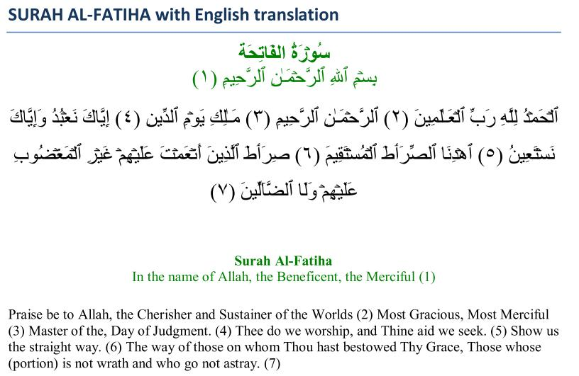 The Meaning of Surah al-Fatiha - Islamic Articles